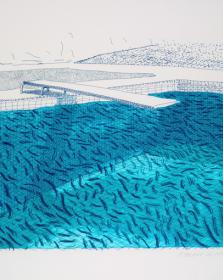 "Hockney, ""Lithographic water made of lines "" at Andipa Gallery"