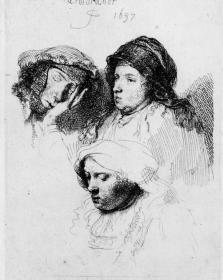 Rembrandt, 'Three Heads of Women, One Asleep'