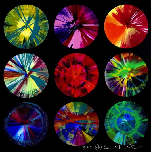 Damien Hirst:Beautiful Intergalactic Fantasmagoria in a Rainbow Big Bang Explosion, Let's Have More Intercourse Charity Painting