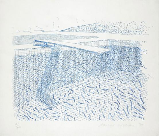David Hockney:Lithograph of Water Made of Lines
