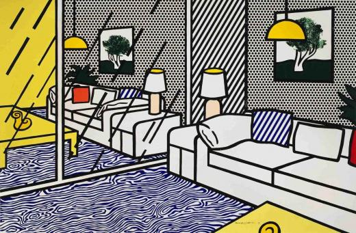 Roy Lichtenstein:Wallpaper with Blue Floor Interior