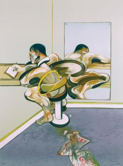 Francis Bacon:Figure Writing Reflected in a Mirror