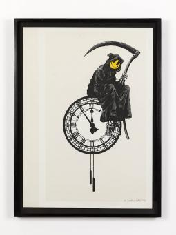Banksy:Beige uncut Grin Reaper