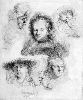 Rembrandt:Studies of the Head of Saskia