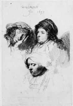 Rembrandt:Three Heads of Women, One Asleep
