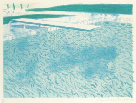 David Hockney:Lithograph of Water Made of Lines with Two Light Blue Washes (T.206)