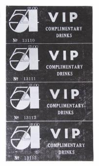 Andy Warhol:VIP ticket-Studio 54